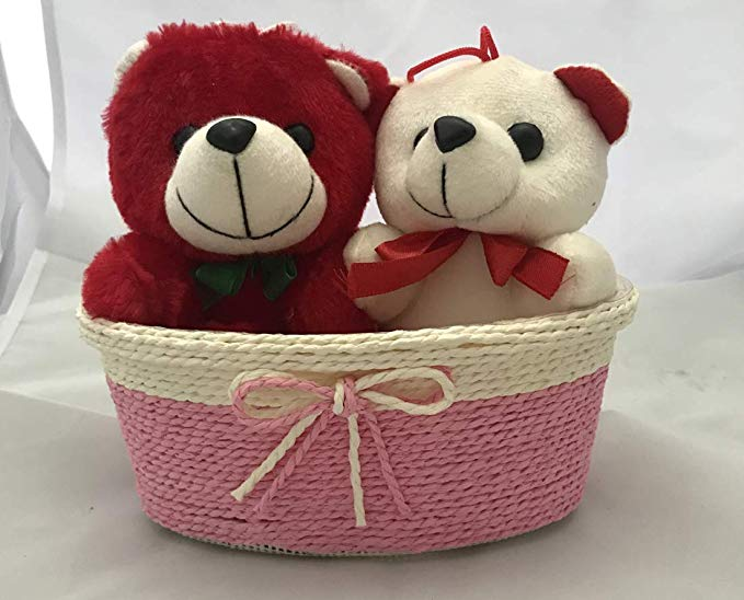 1 Red & 1 White Teddy (6 inch Size) Sitting in a Rafia Basket  (Only For Delhi)
