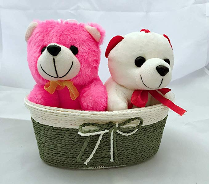1 Pink & 1 White Teddy (6 inch Size) Sitting in a Rafia Basket  (Only For Delhi)