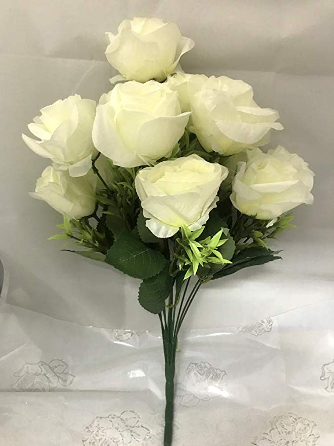 12 White Artificial Roses Bunch  (Only For Delhi)