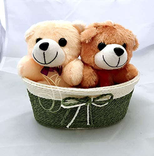 1 Cream & 1 Brown Teddy (6 inch Size) Sitting in a Rafia Basket