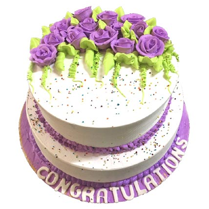 3 Kg 2 tier White and Purple Cake