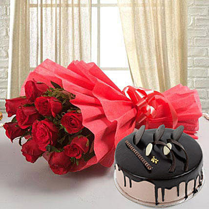Flowers Delivery in FaridabadBunch of 10 Red Roses in Red Paper Packing & 1/2Kg Chocolate Cake