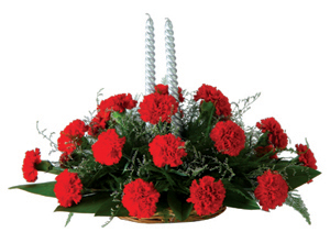 Oval arrangement of Carnation�with Candles