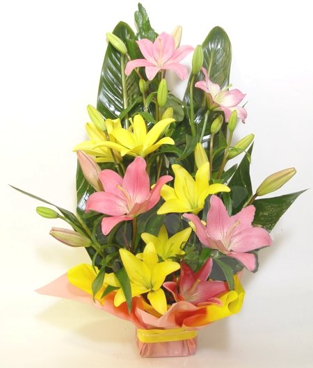 Mix Asiatic Lillium arranged in a Basket