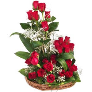 25 Red Roses arranged in a Basket