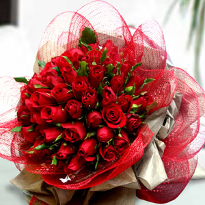 50 Red roses bunch with Net Packing