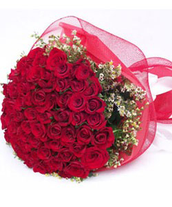 50 Red roses bunch with Net Packing delivery in Patna