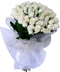 Flowers Delivery in BhilaiHand Bunch of 50 White Roses