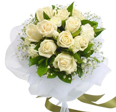 Flowers Delivery in BhilaiA Bunch of 12 white Roses