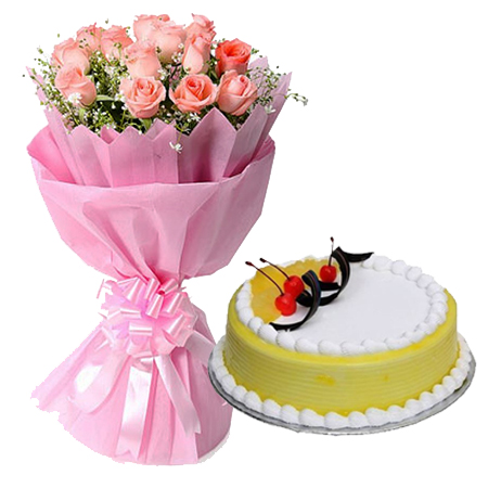 12 Pink Roses in Paper with 1/2kg Pineapple Cake delivery in Patna