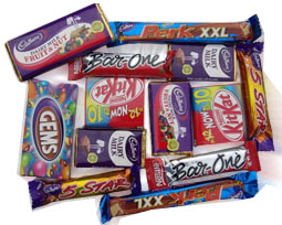 Assorted chocolates of Nestle and Cadburys
