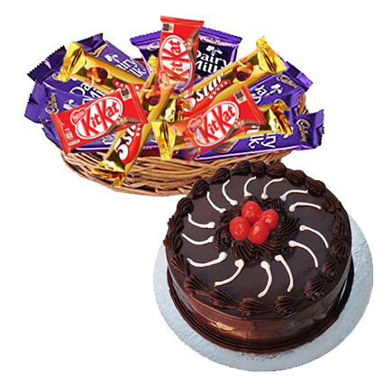 Flowers Delivery in JalandharBasket of 12 Mix Chocolates with 1/2kg Truffle Cake