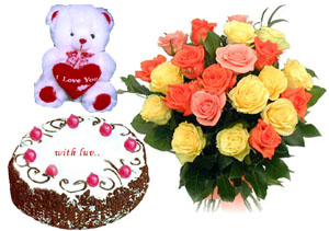 A bunch of 15 mix color roses with 1 kg Cake and a cute Teddy