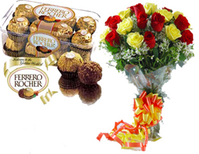 A bunch of 20 Roses with 16 pc Ferrero Rocher Chocolates.