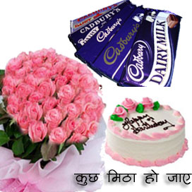 25 Roses Bunch with 1/2kg Cake and 10 Dairy Milk Chocolates. delivery in Ghaziabad