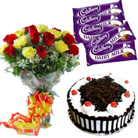 A 12 Mix Roses Bunch, 1/2 kg Black Forest Cake and 5 Dairy Milk Chocolates delivery in Ghaziabad