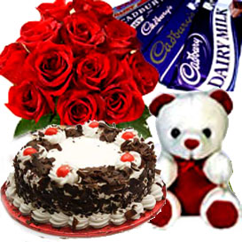 Bunch of 15 Roses, 1/2kg Cake, Chocolate and small teddy delivery in Ghaziabad