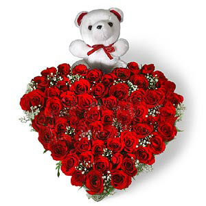 Heart Shape Arrangement of 50 Red roses with small cute teddydelivery in Patna