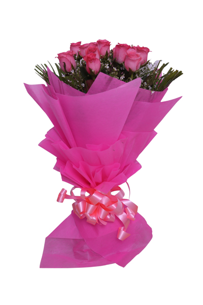 15 Pink Roses Bunch