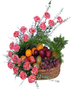 Arrangement of 20 carnation and Mix Fruits 4kg