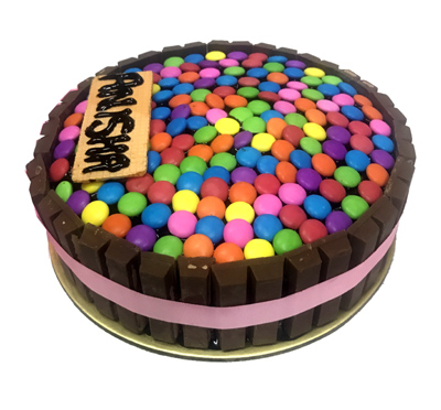 Flowers Delivery in Chandigarh1kg kitkat Gems Cake