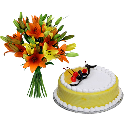 6 Mixed Lilly with 1/2 kg Pineapple Cake delivery in Ghaziabad
