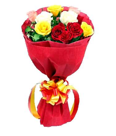 Flowers Delivery in Bhilai12 Mix Color Roses Bunch