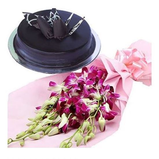 Flowers Delivery in Lucknow6 Orchids Bunch with 1/2kg Truffle Cake