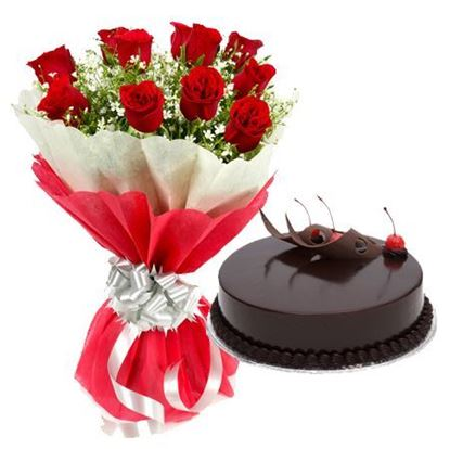 12 Red Roses in Red & white paper with 1/2kg Truffle Cake