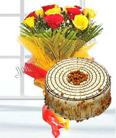 Flowers Delivery in Meerut12 Red and Yellow Roses & 1/2 kg Buttersoctch Cake