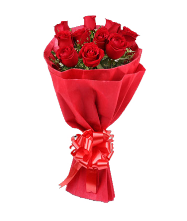 12 Red Roses in red paper