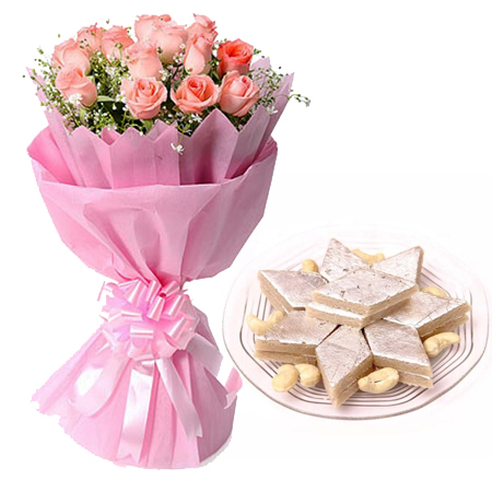 Flowers Delivery in Meerut12 Pink Roses in Paper with 1/2kg Kaju Berfi