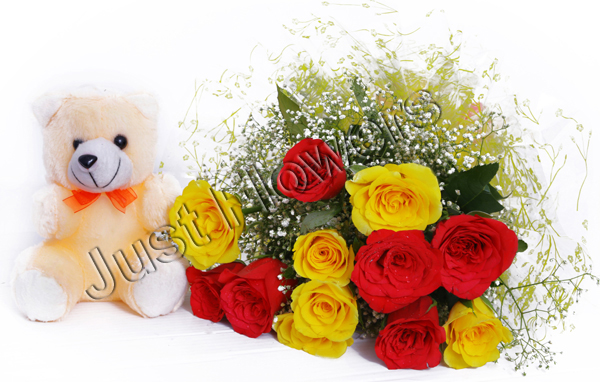 12 Red & Yellow Roses with Small Teddy delivery in Patna